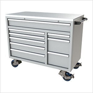 9-Drawer Light Grey Aluminum Toolbox