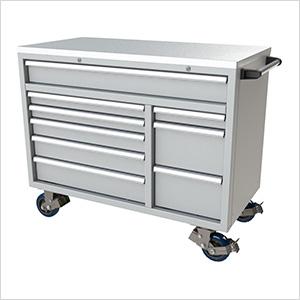 9-Drawer Light Grey Aluminum Toolbox
