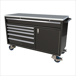 6-Drawer / 1-Door Black Aluminum Tool Chest