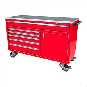 6-Drawer / 1-Door Red Aluminum Tool Chest