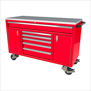 6-Drawer / 2-Door Red Aluminum Toolbox