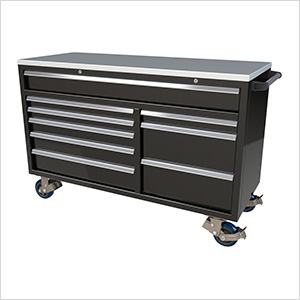 9-Drawer Black Aluminum Tool Cabinet