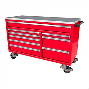 9-Drawer Red Aluminum Tool Cabinet