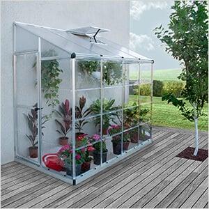 Hybrid Lean-To 4' x 8' Greenhouse (Silver)