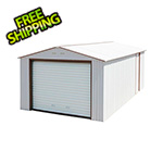 DuraMax Imperial 12' x 32' Metal Garage (White / Brown)