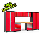 NewAge Garage Cabinets PRO Series 3.0 Red 8-Piece Set with Bamboo Top and LED Lights