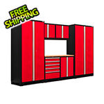 NewAge Garage Cabinets PRO Series 3.0 Red 7-Piece Set with Bamboo Top and LED Lights