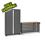 NewAge Garage Cabinets BOLD 3.0 Grey 2-Piece Project Center Set with Bamboo Top