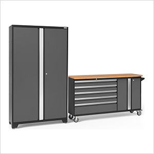 BOLD 3.0 Grey 2-Piece Project Center Set with Bamboo Top