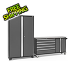 NewAge Garage Cabinets BOLD 3.0 Grey 2-Piece Project Center Set with Stainless Steel Top