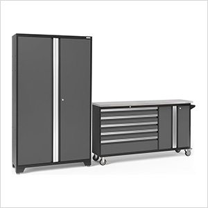 BOLD 3.0 Grey 2-Piece Project Center Set with Stainless Steel Top