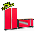 NewAge Garage Cabinets BOLD 3.0 Red 2-Piece Project Center Set with Bamboo Top