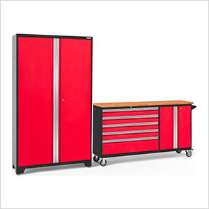 BOLD 3.0 Red 2-Piece Project Center Set with Bamboo Top