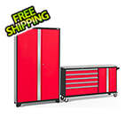 NewAge Garage Cabinets BOLD 3.0 Red 2-Piece Project Center Set with Stainless Steel Top