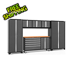 NewAge Garage Cabinets BOLD 3.0 Grey 6-Piece Project Center Set with Bamboo Top and LED Lights
