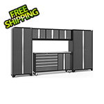 NewAge Garage Cabinets BOLD 3.0 Grey 6-Piece Project Center Set with Stainless Steel Top and LED Lights