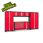 NewAge Garage Cabinets BOLD 3.0 Red 6-Piece Project Center Set with Bamboo Top and LED Lights