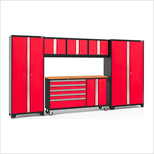 BOLD 3.0 Red 6-Piece Project Center Set with Bamboo Top and LED Lights