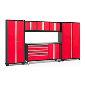 BOLD 3.0 Red 6-Piece Project Center Set with Stainless Steel Top and LED Lights