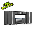 NewAge Garage Cabinets BOLD 3.0 Grey 7-Piece Project Center Set with Bamboo Top and LED Lights