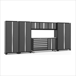 BOLD 3.0 Grey 7-Piece Project Center Set with Stainless Steel Top and LED Lights