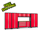 NewAge Garage Cabinets BOLD 3.0 Red 7-Piece Project Center Set with Bamboo Top and LED Lights