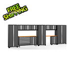 NewAge Garage Cabinets BOLD 3.0 Grey 11-Piece Project Center Set with Bamboo Top and LED Lights