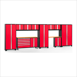 BOLD 3.0 Red 11-Piece Project Center Set with Bamboo Top and LED Lights