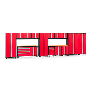 BOLD 3.0 Red 15-Piece Project Center Set with Bamboo Top and LED Lights