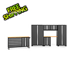 NewAge Garage Cabinets BOLD 3.0 Grey 7-Piece Project Center Set with Bamboo Top