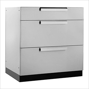 Stainless Steel 3-Drawer Base Cabinet