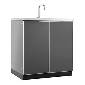 Aluminum Slate Grey 2-door Sink Cabinet