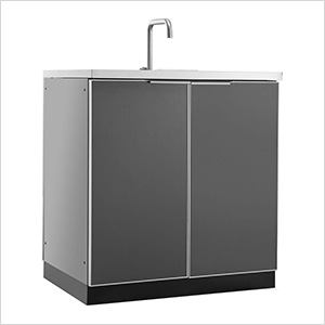 Aluminum Slate Grey 2-Door Sink Cabinet
