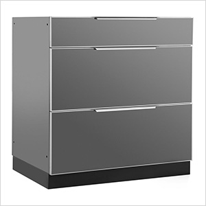 Aluminum Slate Grey 3-Drawer Base Cabinet