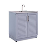 NewAge Outdoor Kitchens Aluminum Coastal Grey 2-Door Sink Cabinet