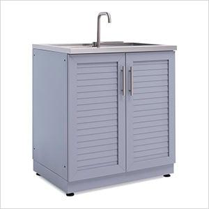 Aluminum Coastal Grey 2-Door Sink Cabinet