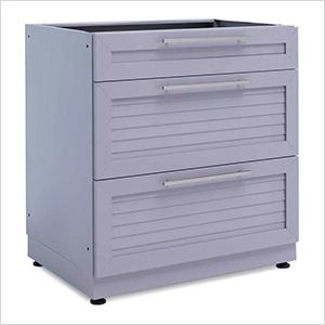 Aluminum Coastal Grey 3-Drawer Base Cabinet