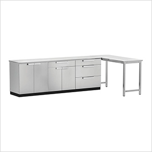Stainless Steel 5-Piece Outdoor Kitchen Set with Countertops and Covers