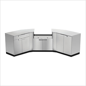 Stainless Steel 7-Piece Outdoor Kitchen Set with Countertops and Covers