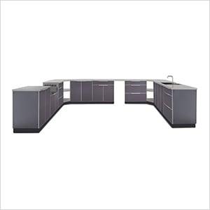 Aluminum Slate 17-Piece Outdoor Kitchen Set with Countertops