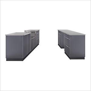 Aluminum Slate 9-Piece Outdoor Kitchen Set with Countertops