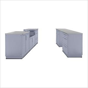 Coastal Grey 9-Piece Outdoor Kitchen Set with Countertops