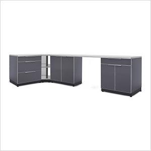 Aluminum Slate 6-Piece Outdoor Kitchen Set with Countertops