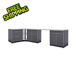 NewAge Outdoor Kitchens Aluminum Slate 6-Piece Outdoor Kitchen Set with Countertops and Covers