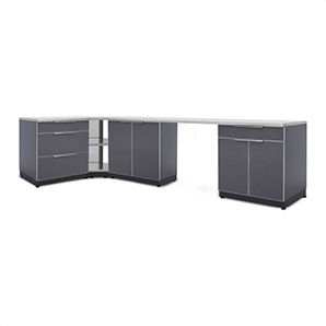 Aluminum Slate 6-piece Outdoor Kitchen Set With Countertops And Covers