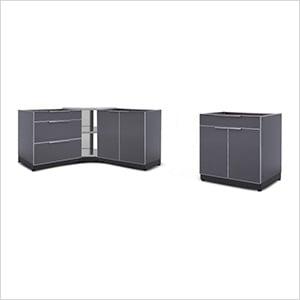 Aluminum Slate 4-Piece Outdoor Kitchen Set