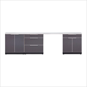 Aluminum Slate 5-Piece Outdoor Kitchen Set with Countertops