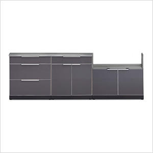 Aluminum Slate 4-Piece Outdoor Kitchen Set with Countertops and Covers