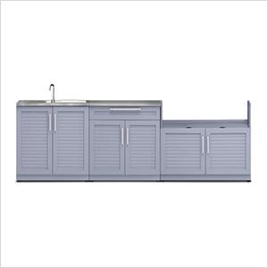 Coastal Grey 4-Piece Outdoor Kitchen Set with Countertops