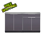 NewAge Outdoor Kitchens Aluminum Slate 3-Piece Outdoor Kitchen Set with Countertops and Covers